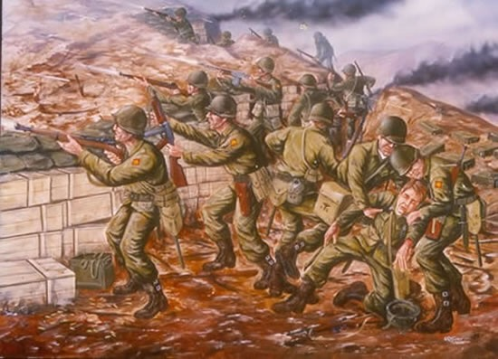 45th Infantry at Pork Chop Hill, Korea; Artist: R.T. Foster