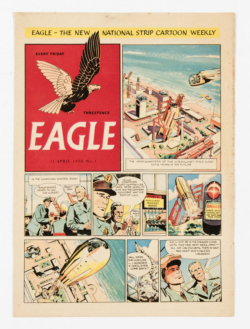 "Eagle Promotional 8 page full colour issue, distributed to churches and schools up and down the country in 1950 to publicise the imminent print run of the Eagle's first issue. The front cover has no ""Dan Dare Pilot of the Future"" header and a different date of 21 April 1950"