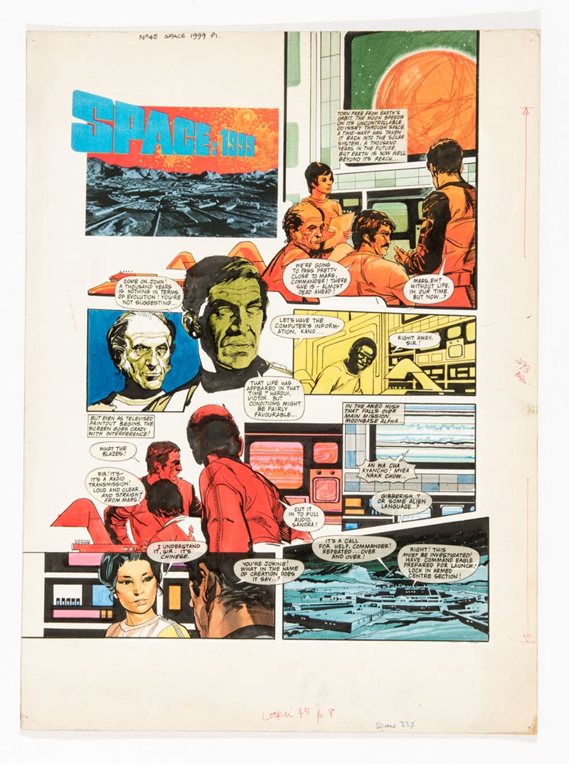 Space: 1999 original artwork (1975) by John M Burns for Look-in No 45, cover dated November 1st 1975. Featuring the familiar faces of Commander Koenig (Martin Landau ) and Professor Bergman (Barry Morse)