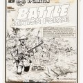 """Charley's War original front cover artwork (1984) by Joe Colquhoun for Battle 484, cover dated 11th August 1984. Dated """"October 2nd 1918"""", Corporal Charley Bourne has escaped from a POW camp to join the British attack on the St Quentin canal. Under heavy enemy fire the British swam the canal with the aid of lifebelts, ropes and rafts in what has been regarded as the most daring action of the Great War."""