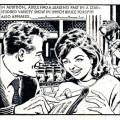"A panel from the potted biography ""Adele Leigh – Growing Up"" featuring a young Bruce Forsyth and the singer, from DC Thomson's Judy in 1962, art by David Slinn. © DC Thomson"