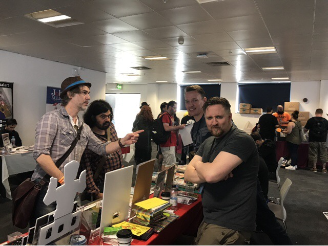 Nick Prolix popped up for a day and we put his excellent Red Action Figure on show for all to see. Here is a photo of him with Dan, Vince and the Mighty Jason Wilson (who is doing some brilliant acting 'oh look at that' in this shot!)