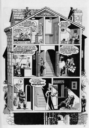 """A splash page from """"The School for Girls"""", published 19th January 1947. Art by Will Eisner"""