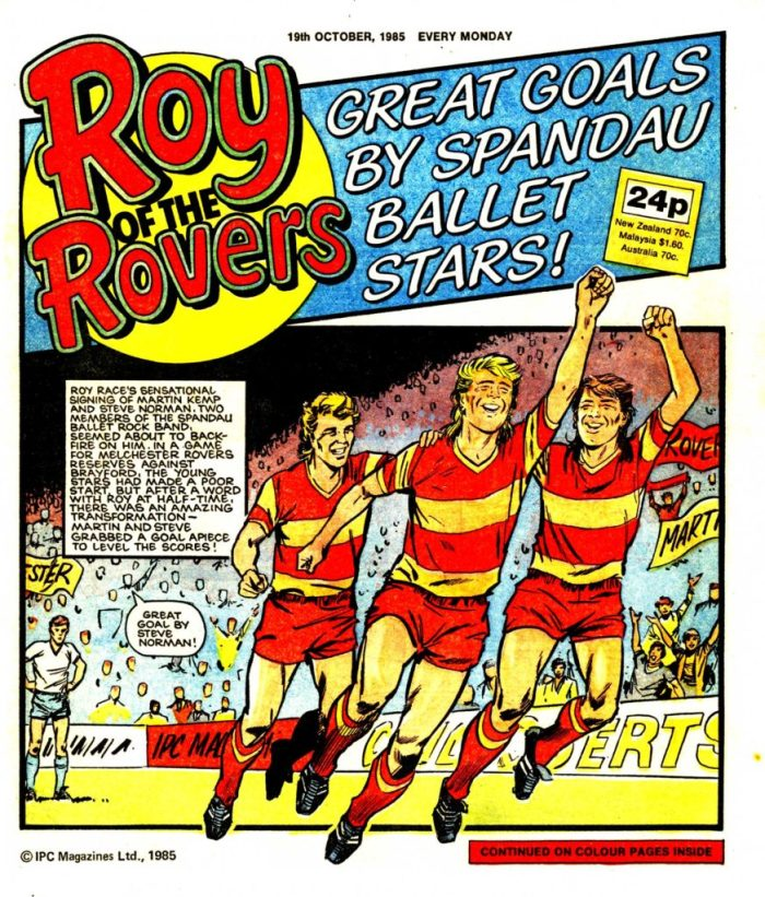 Roy teams up with Spandau Ballet in this issue of Roy of the Rovers cover dated 19th October 1985