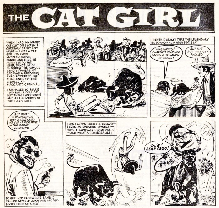 """Art from a 1970 episode of """"Cat Girl"""" set in Spain"""