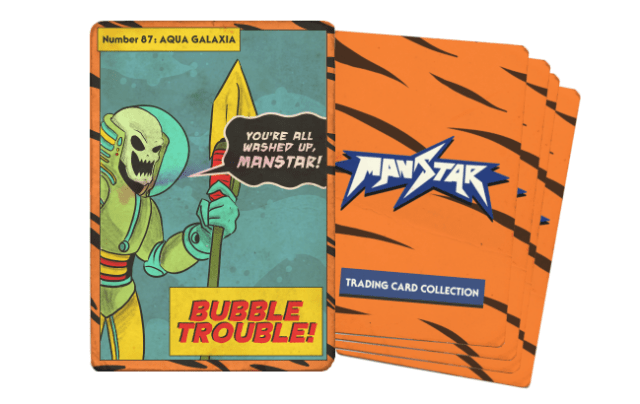 Bastard Galaxia Trading Cards . Just like a genuine pack from 1987, you won't know whats on them all 5 until you receive them! (Temp artwork shown, but expect 5 cards all related to past and upcoming story events!)