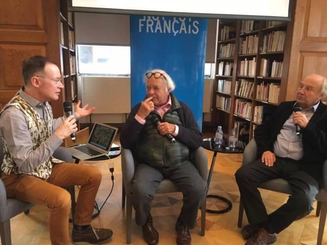 Paul Gravett, Pierre Christin and Jean-Claude Mézières. Photo: Dean Simons