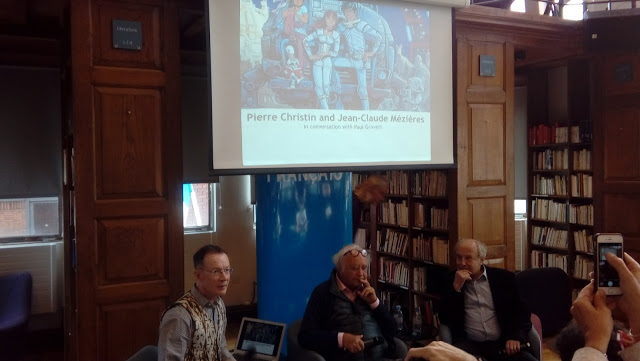 Paul Gravett, Pierre Christin and Jean-Claude Mézières on stage at the Institut Francais Photo: Richard Sheaf