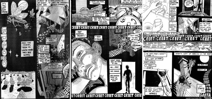 """One of Stuart Medley's strips from [sic]BAG Comics - """"Cicada"""", published in 1992"""