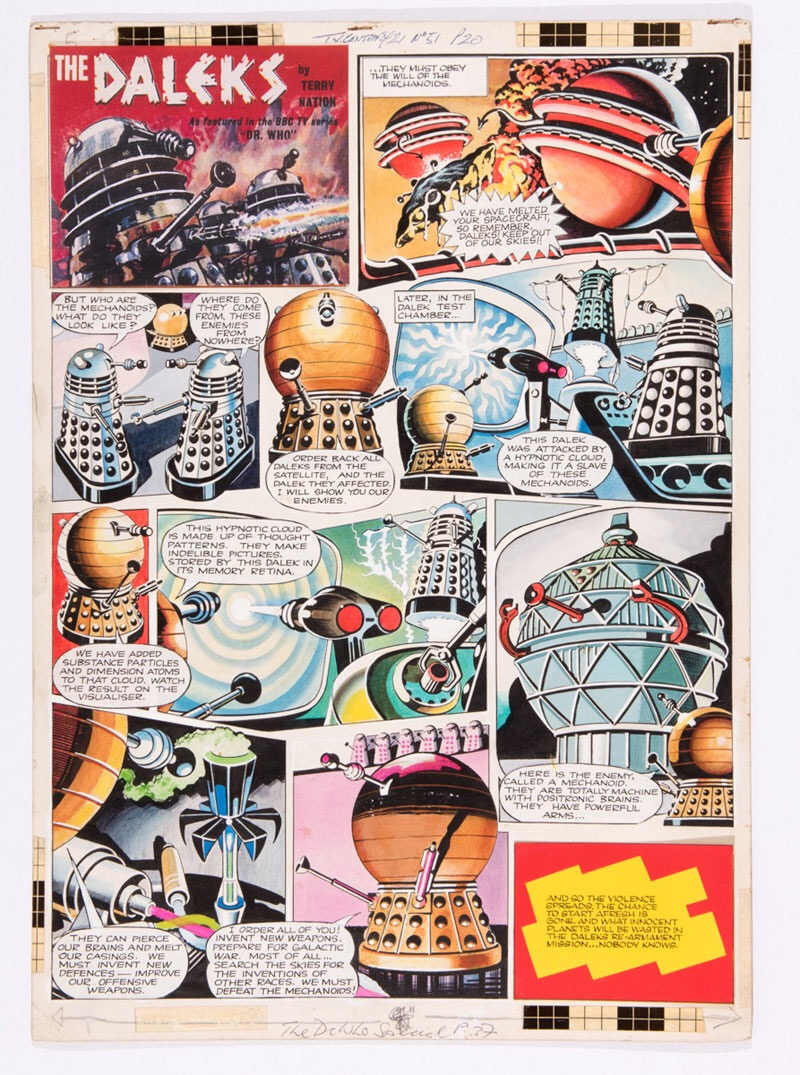 Daleks original artwork (1965) by Ron Turner for TV Century 21 No 51