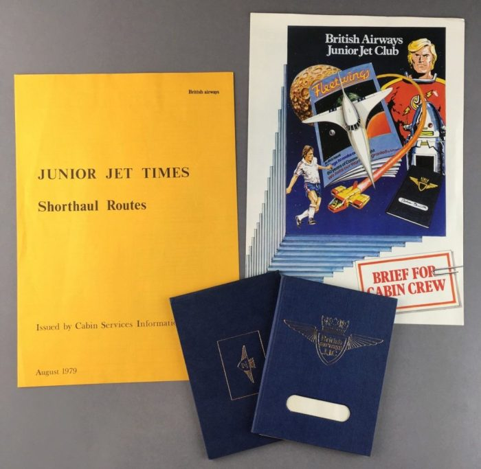 "A 1979 briefing pack about the Junior Jet Club for British Airways staff. featuring the cover of the first revamped Fleetwings to feature ""Jet Jason"""