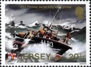 "The Jersey Post released a set of six stamps on the 1st June 1984 to commemorate the centenary of the RNLI in Jersey. One of the 20½p stamps featured the St. Helier 44' Waveney Class lifeboat, the ""Thomas James King"" by Gerald Palmer and depicts the service to the yacht ""Cythara"" in atrocious conditions on the 3rd September 1983."