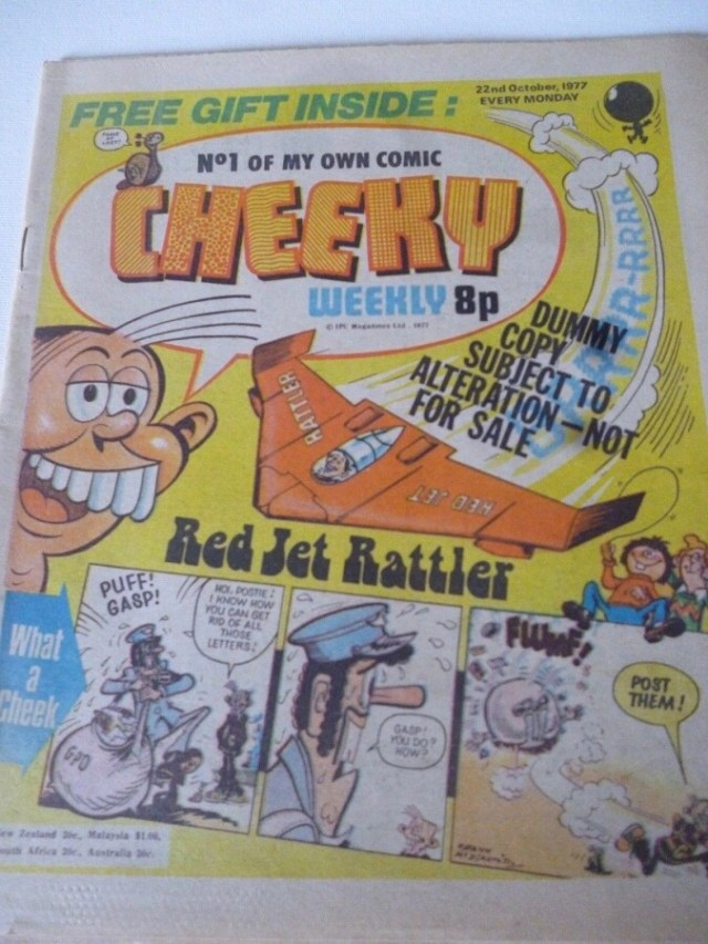 The dummy cover of Cheeky Weekly Issue One