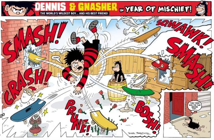 The new touchy feely, PC, Dennis as seen in the first Beano of 2018 - smashing two windows, scarring a gull, breaking a bird bath, chopping the heads roses and decapitating a gnome in one picture!