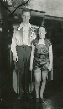 Forrest J. Ackerman and Myrtle R. Douglas in their Things to Come-inspired