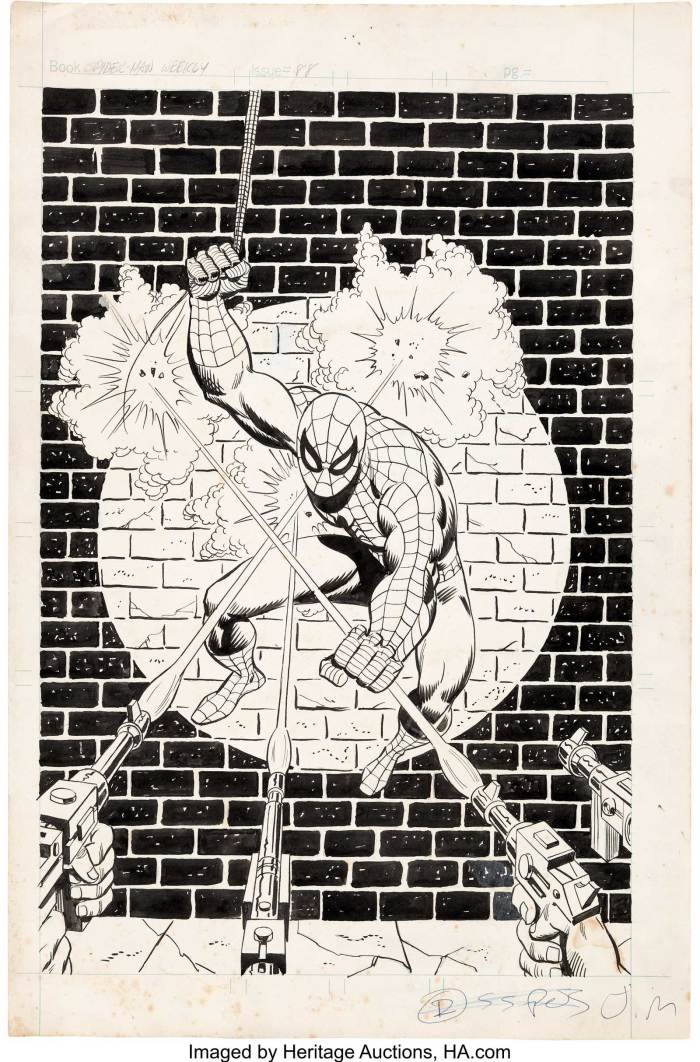 Sal Buscema and Mike Esposito (art team attributed) Spider-Man Comics Weekly #88 Cover, published in 1974. A great original cover for the UK reprint of Amazing Spider-Man #70.