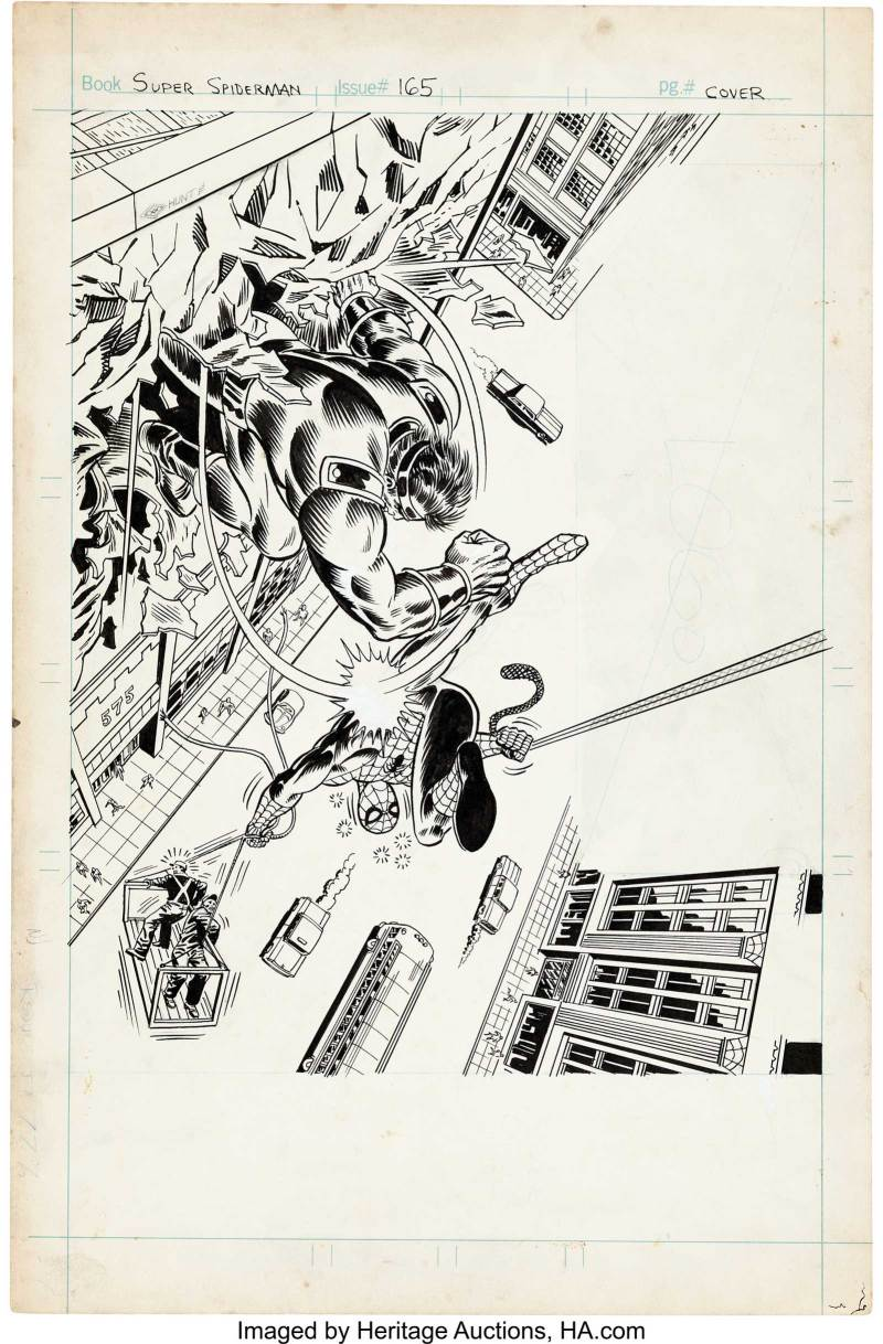 Dave Hunt and Frank Giacoia Super Spider-Man #165 Cover Original Art. A very spot-on redux of John Romita Sr.'s cover for Amazing Spider-Man #116, which this issue reprints in part. The story of the Smasher (the big guy on the cover) actually started as the story of the Man-Monster in Spectacular Spider-Man magazine #1. That story was reformatted, and his name was changed, to reprint in ASM issues #116-118.