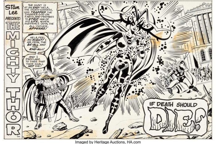 """Dave Hunt - Super Spider-Man #188 Splash Page 1 Thor and Hela. Fans of her encounter with Thor Odinson in the Marvel movie Thor: Ragnarok should be interested in this splash page for sure, as it has three of the major players from the movie in one scene. Titled """"If Death Should Die!"""", this all-new splash page opened the second part of the story """"...And So, To Die!"""" which originally was published in Thor #190, originally illustrated by John Buscema. Dave Hunt does a great job with the Kirby Krackle around Hela."""