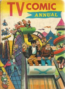 Beetle Bailey rubs shoulders with Doctor Who on this TV Comic 1968 Annual cover, attributed to Bill Mevin