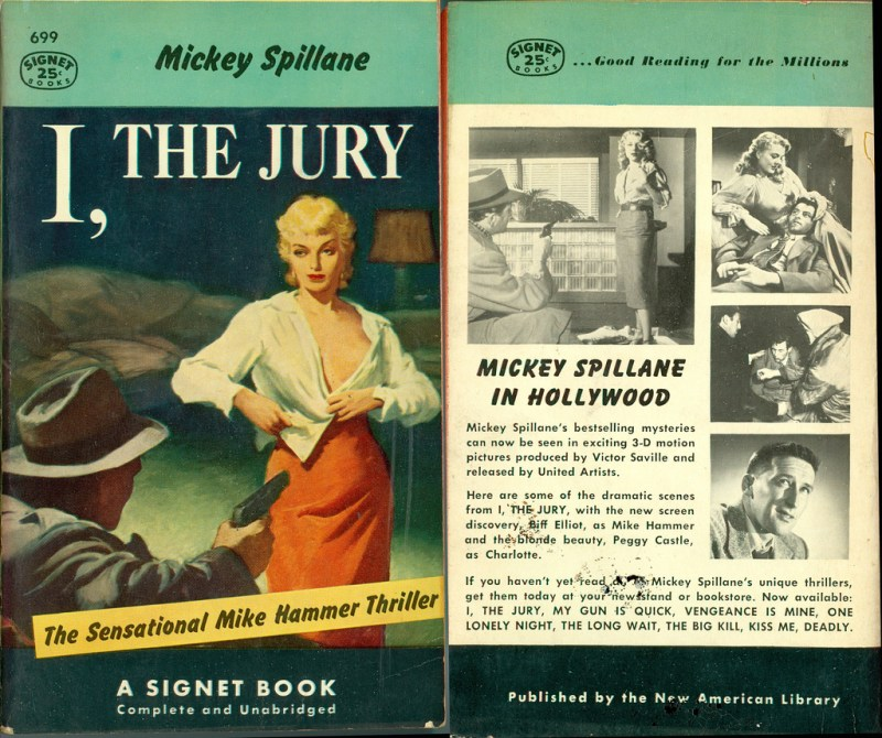 An early edition of I, The Jury, with lurid back cover blurb