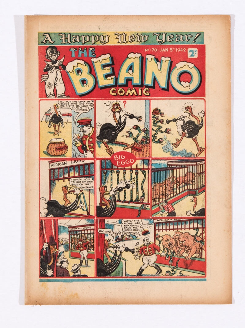 A propaganda war issue of The Beano (Issue 170), published in 1942. 'V for Victory - B for Beano!' Doubting Thomas gets a black eye collecting waste paper. Dudley Watkins won't teach Lord Snooty how to draw and gets duffed up by Pals! 'Waste Littler - Paste Hitler!' illustrated ad
