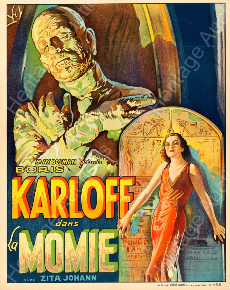 "The Belgian version of the film poster for ""The Mummy"" starring Boris Karloff. Image: Heritage Auctions"