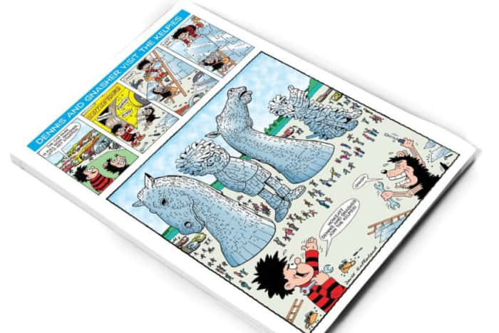 A special comic strip sees Dennis and Gnasher visit The Kelpies. Image © Beano Studios