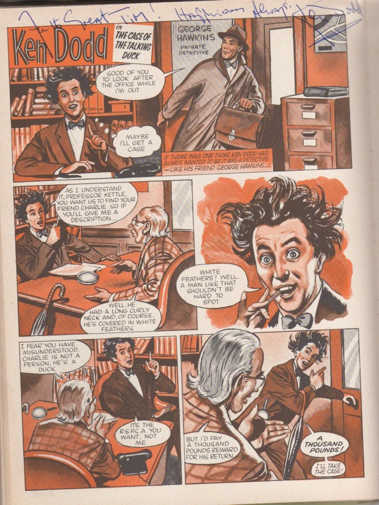 Ken Dodd as he appeared in TV Express Annual 1962 - Tim's signed copy