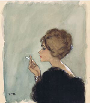 Smoking Woman - a sketch by David Wright