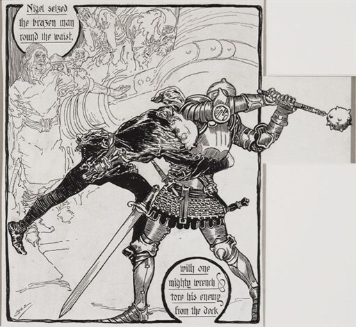 """Sir Nigel"" Illustration by Joseph Clement Coll"