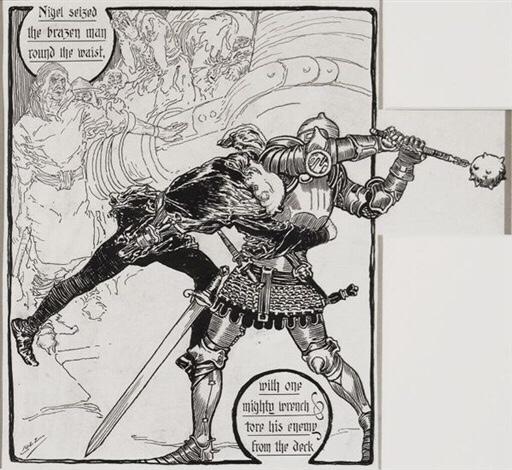 """Sir Nigel"" Illustration by Joseph Clement Coll"