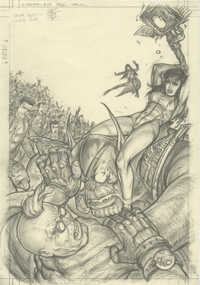 pencils for the cover of X-Factor #34 by Boo Cook