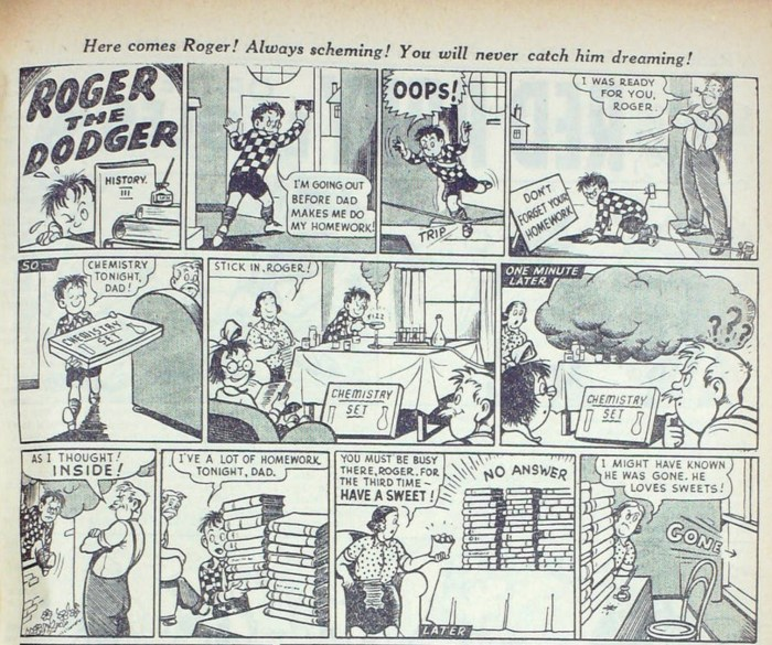 Roger first appeared in the Beano cover dated 18th April 1953, drawn by Ken Reid. Image © Beano Studios
