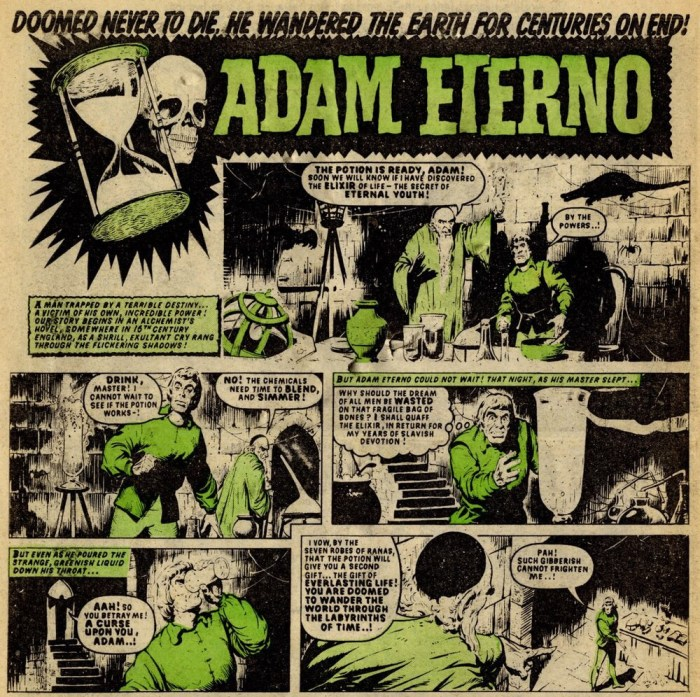 Adam Eterno's first appearance in lurid gree-tinged glory in Thunder Issue One, the work of script writer Tom Tully, art by Tom Kerr