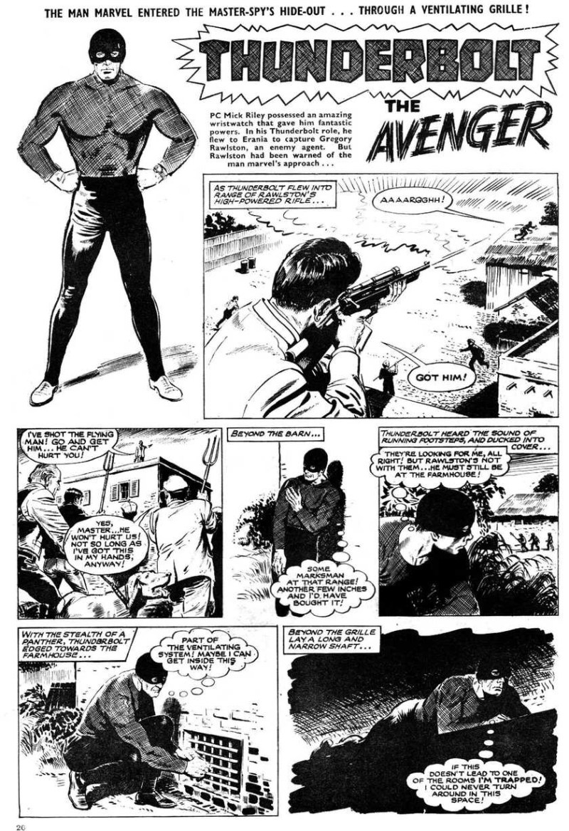 "The opening page of ""Thunderbolt the Avenger"" from Buster cover dated 17th December 1966"