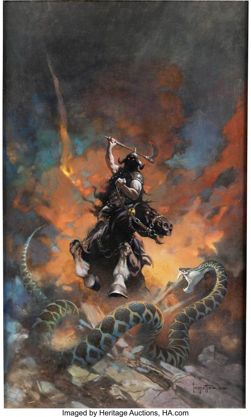 Frank Frazetta Death Dealer 6 Painting Original Art (1990)