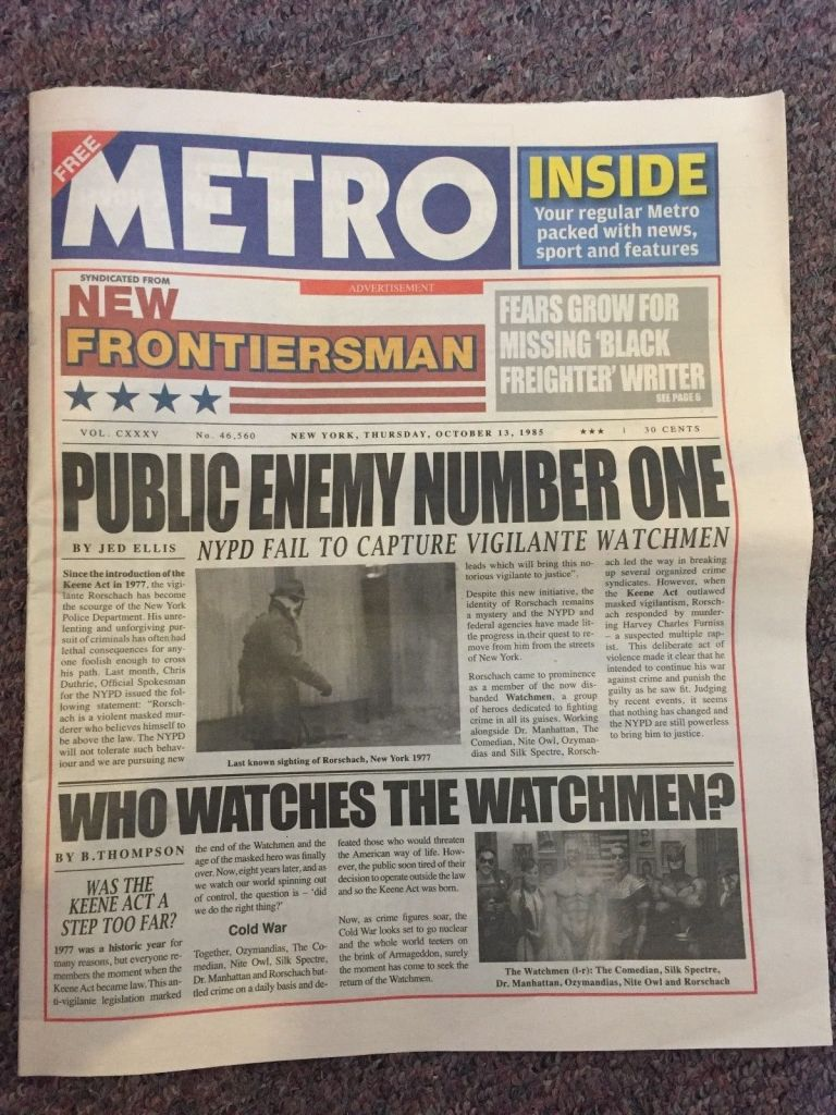 Metro Watchmen Newspaper - Cover