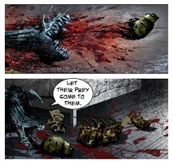 A teaser of Monty Nero's offered horror comic bonus for backing both Hollow Monsters and The Edge Off