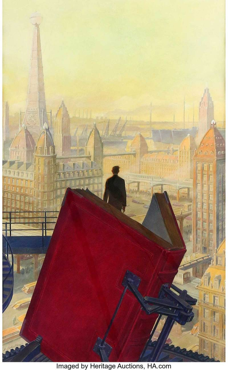 """François Schuiten Paris in the Twentieth Century Cover Original Art (Hachette, 1994). This major drawing was created by the co-author of The Obscure Cities for the cover of Jules Verne's """"forgotten"""" novel published in 1994."""