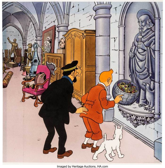Hergé (Georges Rémi) Red Rackham's Treasure: The Crypt of Marlinspike Hall Original Art (Hallmark, 1970). Along with the cover, this is the most beautiful illustration from the pop-up book of Red Rackham's Treasure.