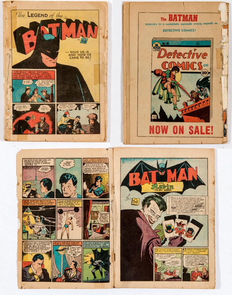 Batman 1 coverless (1940). Clear taped spine, 2 clear taped repairs to splash page, 1 clear taped repair back page. The first four pages have ragged edges, with edge tears to back four pages.