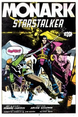 The ooening page of the Monark Starstalker by Howard Chaykin, from Marvel Premiere © Marvel Comics