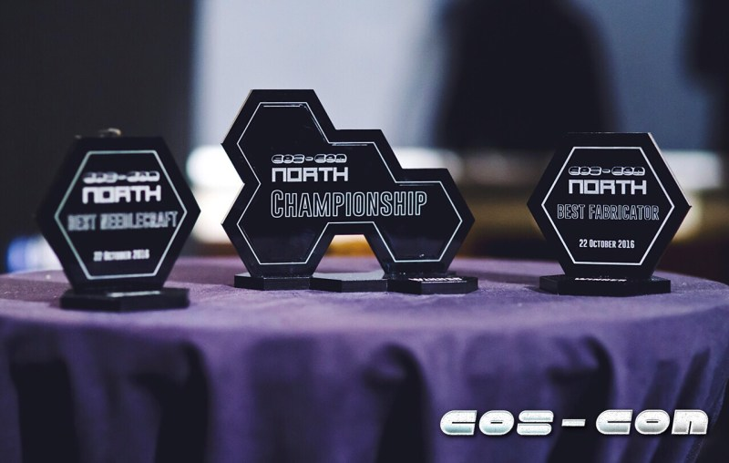 Cosplay trophies made by Sorzeno Props. Photo: Alasdair Watson Photography