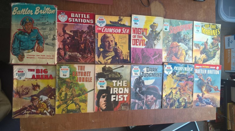 The British war comics featuring Hugo Pratt's art inside. Of these, Battler Britton, a hardback special published back in 1960/61 often commands the highest back issue price. Photo with thanks to Bambos Georgiou
