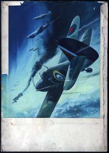 "Ron Jobson's original art for the World War Two poster ""BACK THEM UP!"", featuring Hurricanes of the Royal Air Force co-operating with the Russian Air Force"