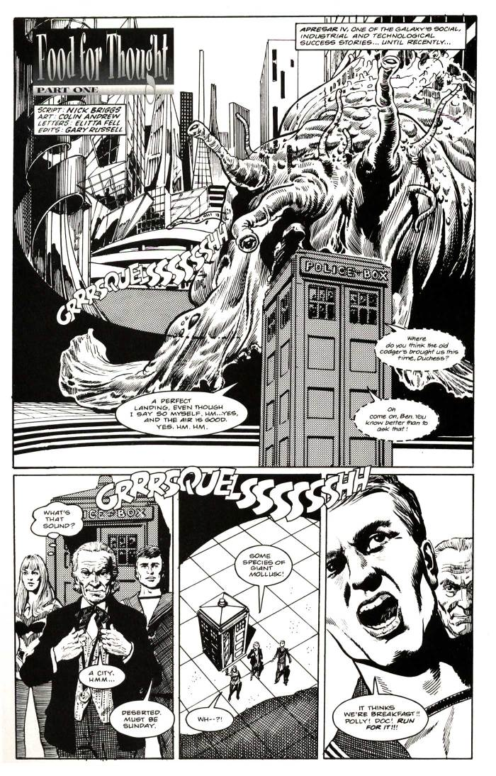 "Art from ""Food for Thought"", a First Doctor story by Nicholas Briggs, drawn by Colin Andrew"
