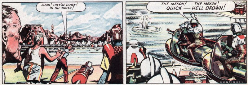 """The left hand panel of this """"Dan Dare"""" example (from Eagle Volume Two, no. 5), shows Hampson's use of depth"""