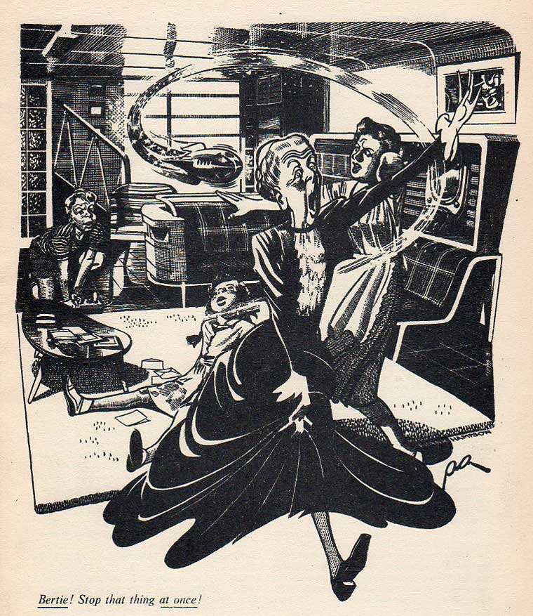 """""""Aunt Anastasia comes to stay"""" in the 1953 Dan Dare Spacebook by Frank Hampson"""