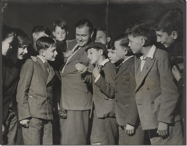 Frank Hampson with young Eagle fans. Are you in this picture? Why not let us know , below?