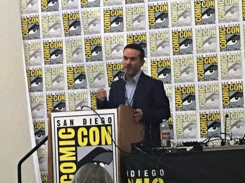 Phillip Vaughan presenting his paper on Saltire and the 2018 San Diego Comic Con Comic Art Conference